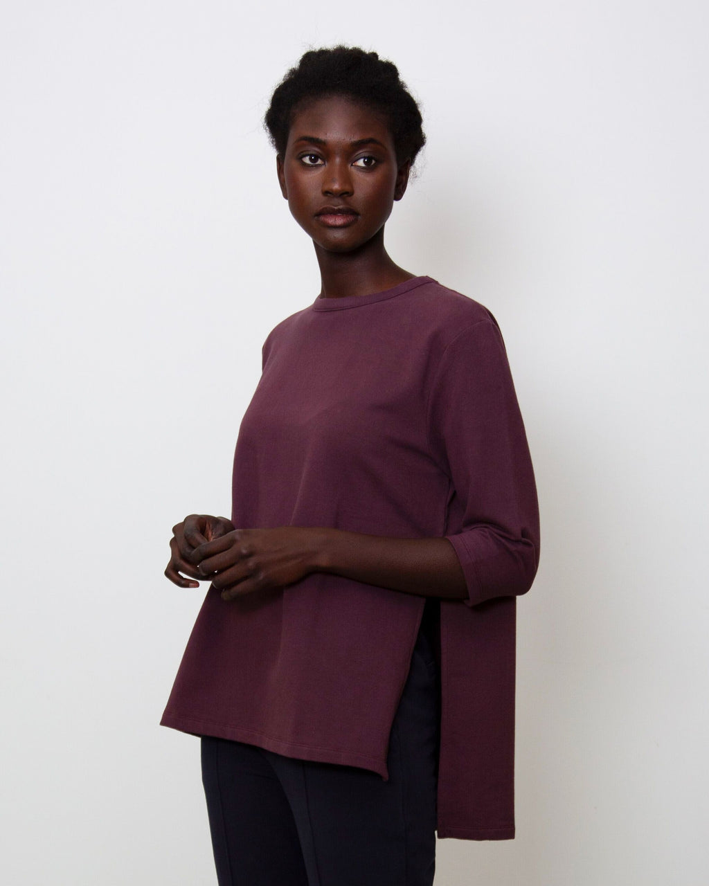 Corinne Organic Cotton Top In Plum