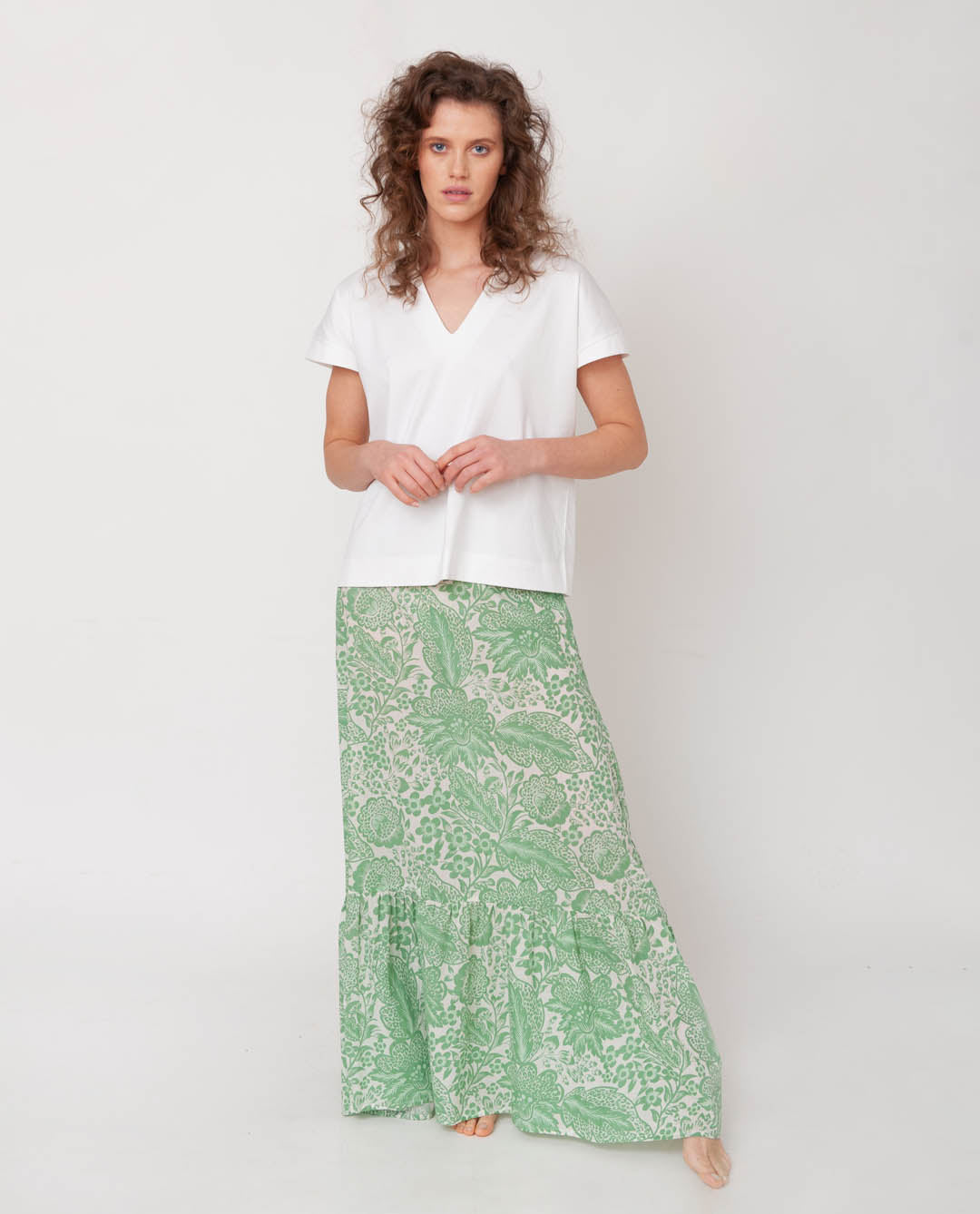 Kali Organic Cotton Skirt In Green Print