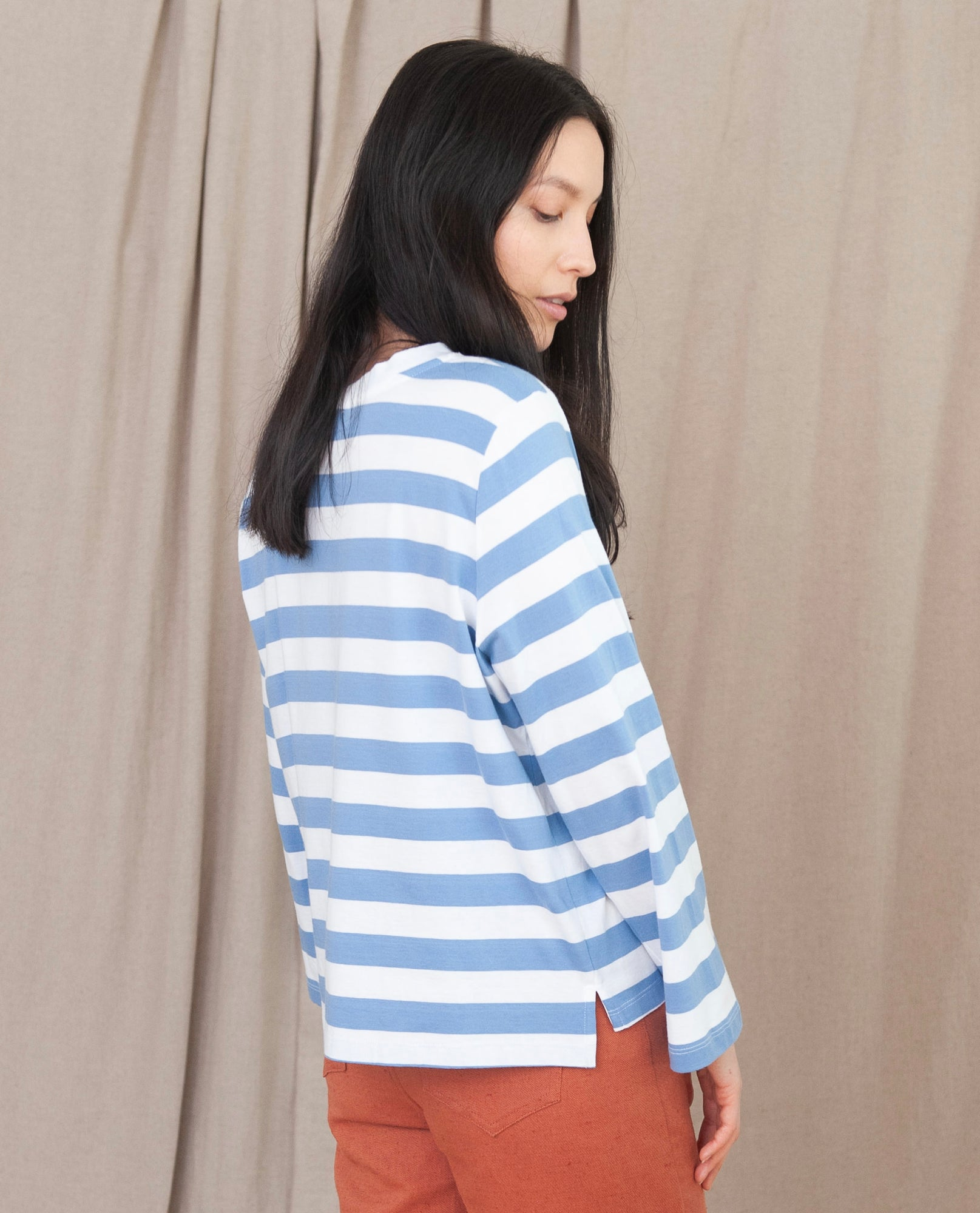 KIM Organic Cotton Top In Blue And White Stripe
