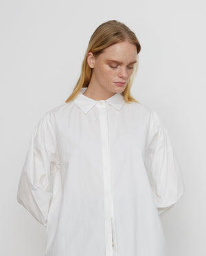 LARA Organic Cotton Shirt Dress In Off White