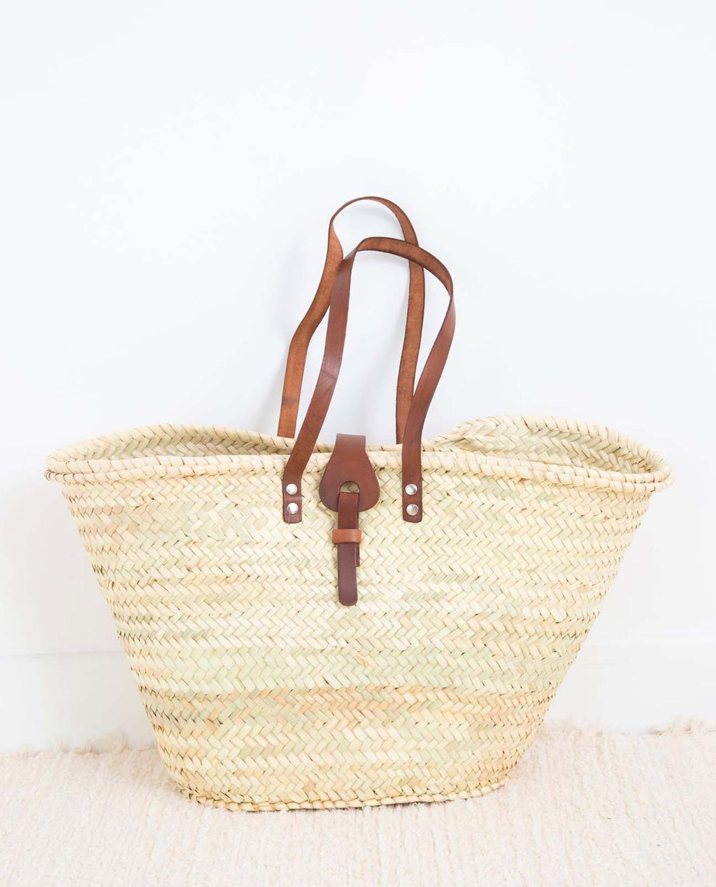 Leather Strap Straw Shopper Bag