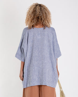LEONOR Linen Top In Blue