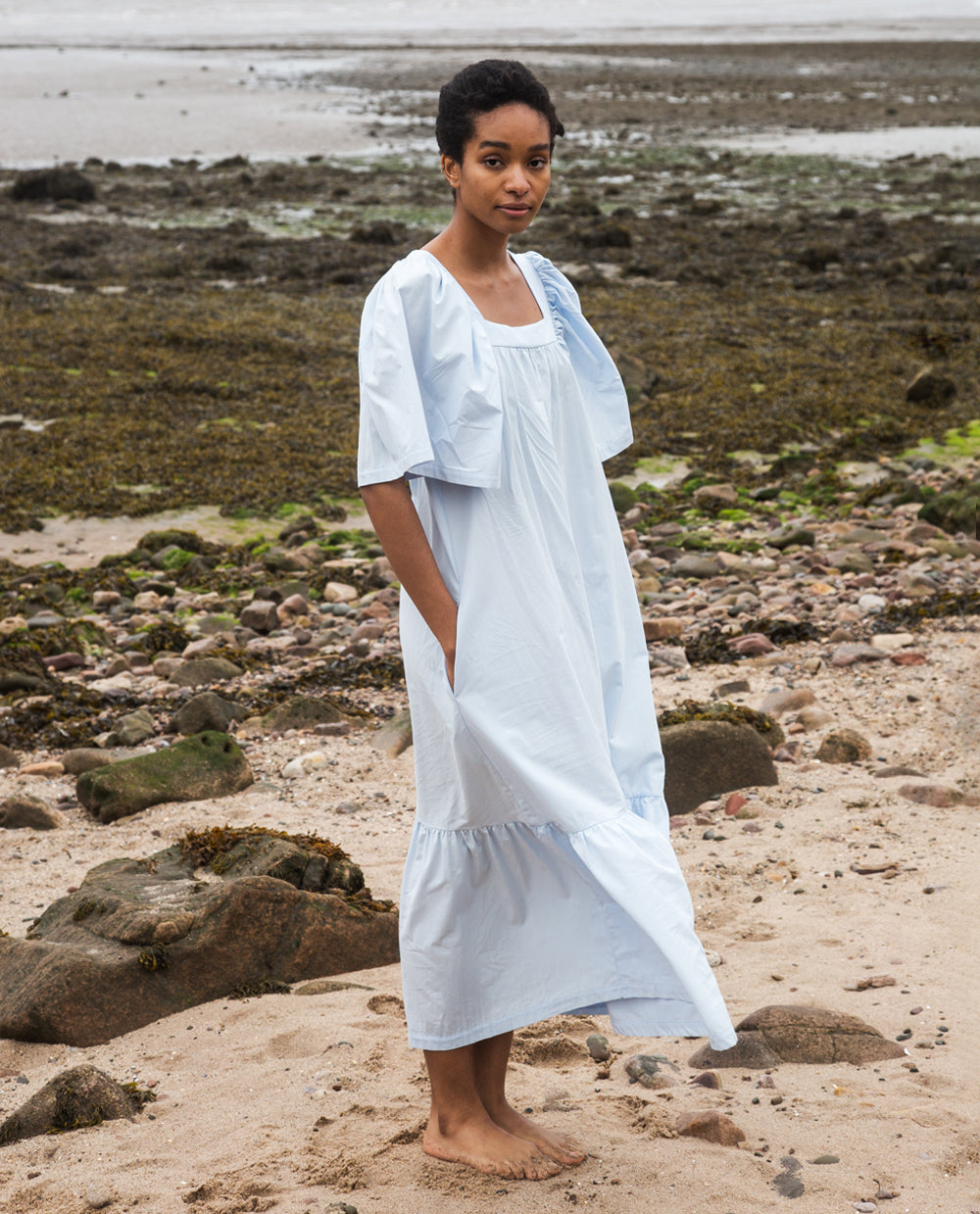 Lesley Organic Cotton Dress In Pale Blue