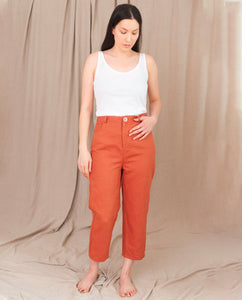 LIBBIE Organic Cotton Canvas Trouser In Terracotta