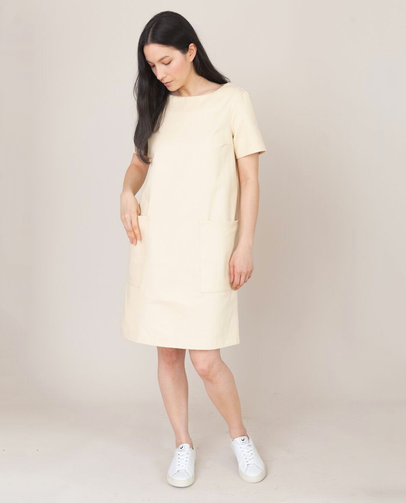 LOLA-DEE Cotton Denim Dress In Ivory