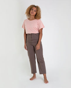 LIBBIE-DEE Cotton Denim Trouser In Khaki
