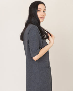 LILLIAN Organic Cotton Dress In Grey Marl