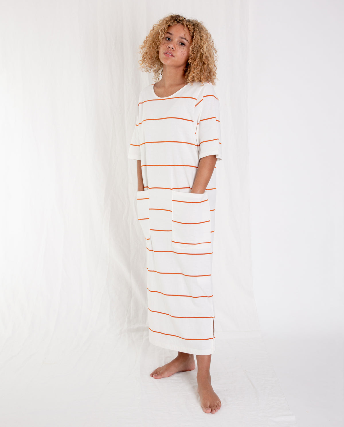 LILLIAN-SUE Organic Cotton Dress In Off White And Madder