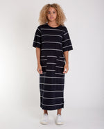 LILLIAN-SUE Organic Cotton Dress In Deep Indigo And Off White