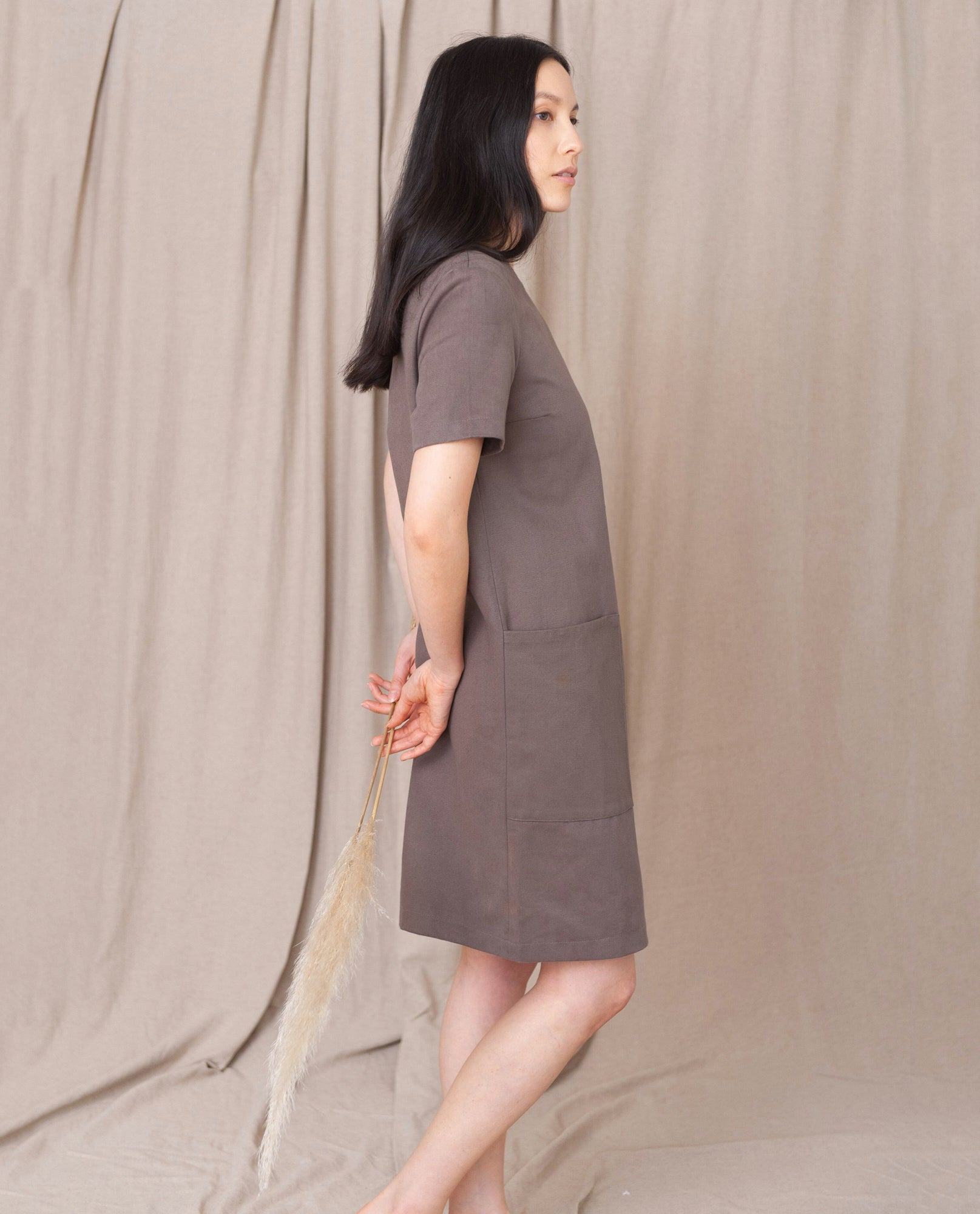 LOLA-DEE Cotton Denim Dress In Khaki