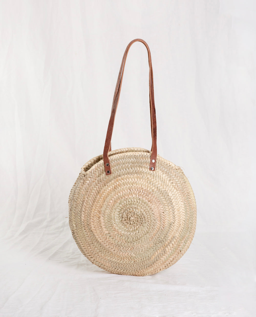 Long Leather Strap Circle Basket Bag