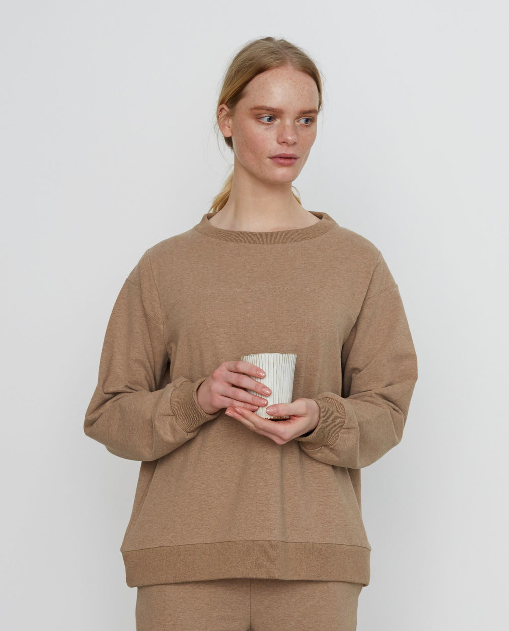 LOUISA Organic Cotton Top In Stone Marl