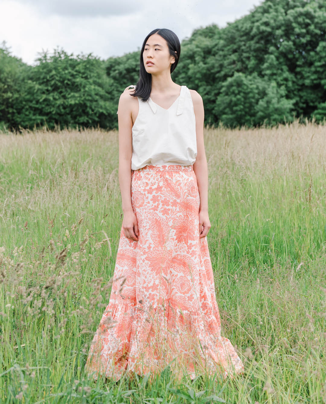 Kali Organic Cotton Skirt In Pink Print