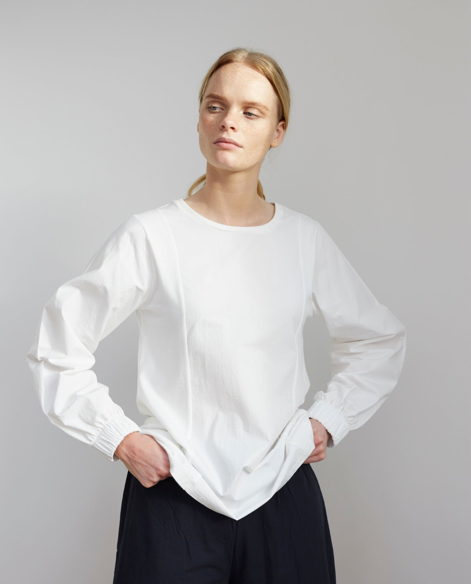 LUCILLE Organic Cotton Top In Off White