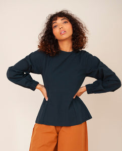 LUCILLE Organic Cotton Top In Deep Indigo