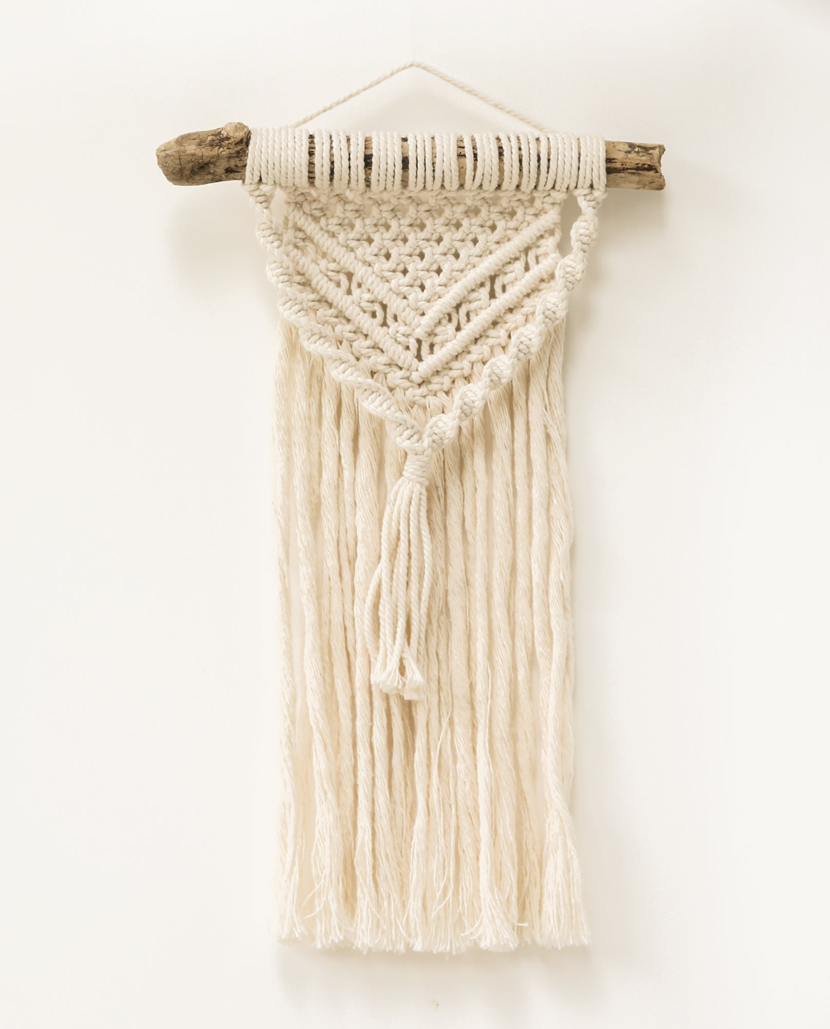 Small Macrame Wall Hanging With Driftwood