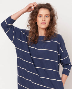 Mafalda-Sue Organic Cotton Top In Midnight & Natural