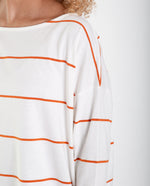 MAFALDA-SUE Organic Cotton Top In Off White And Madder