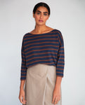 Mafalda-Sue Organic Cotton Top In Navy & Chocolate