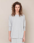 Mafalda Organic Cotton Top In Light Grey Marl