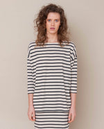 Mafalda-Sue Organic Cotton Top In Bone Marl & Black