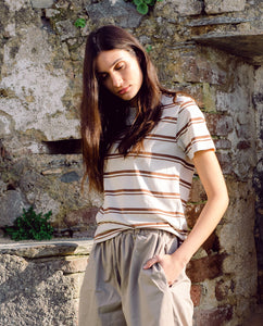 Maliah-Sue Organic Cotton Top In Tan & Cream Stripe