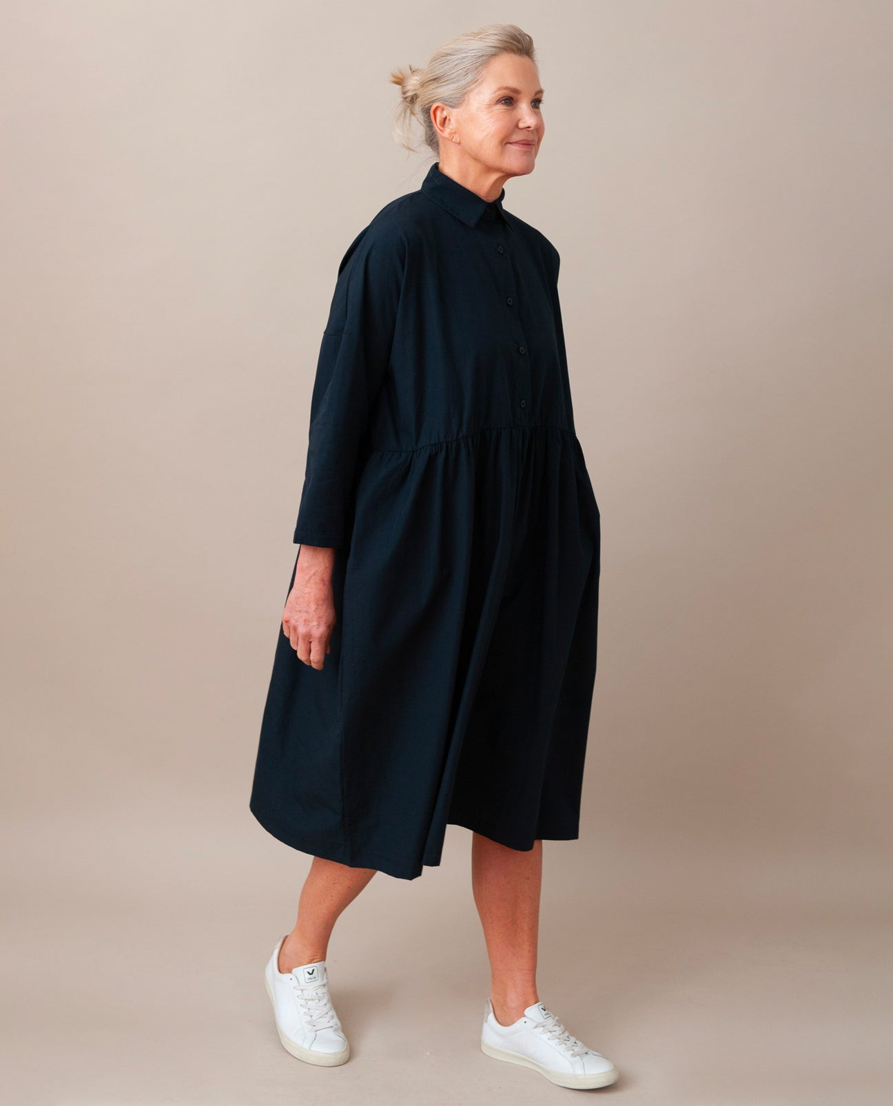 MARGE Organic Cotton Dress In Deep Indigo