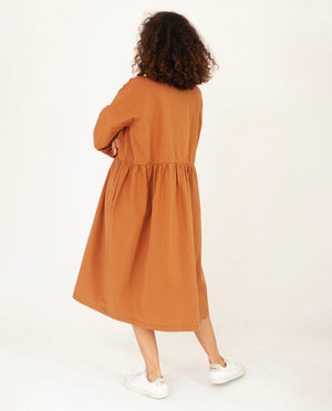 MARGE Organic Cotton Dress In Coffee