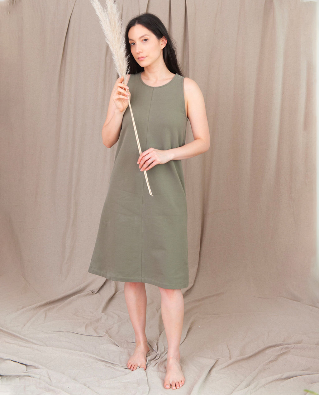 MARLEY Organic Cotton Dress In Khaki