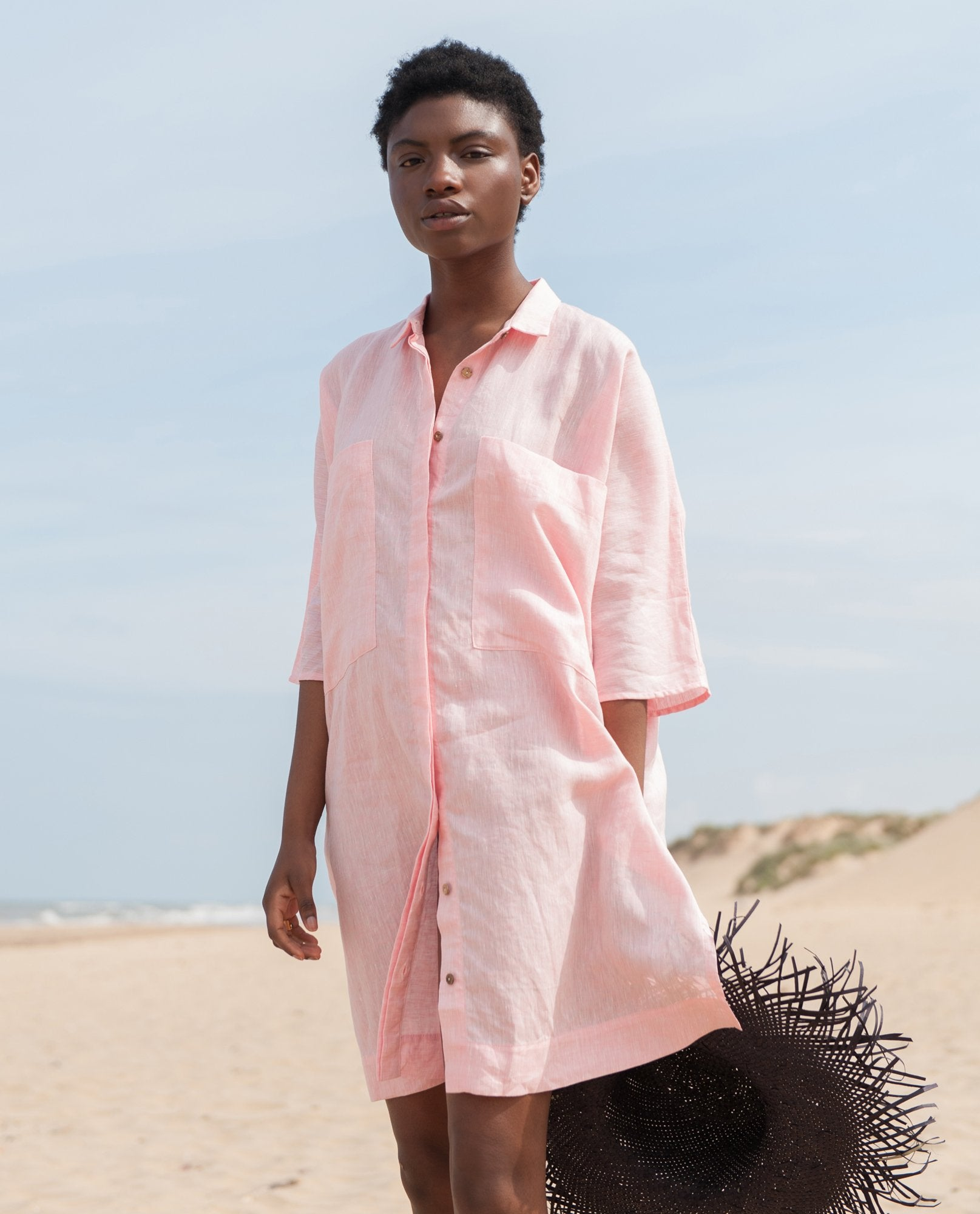 MARSHA Linen Shirt In Pink