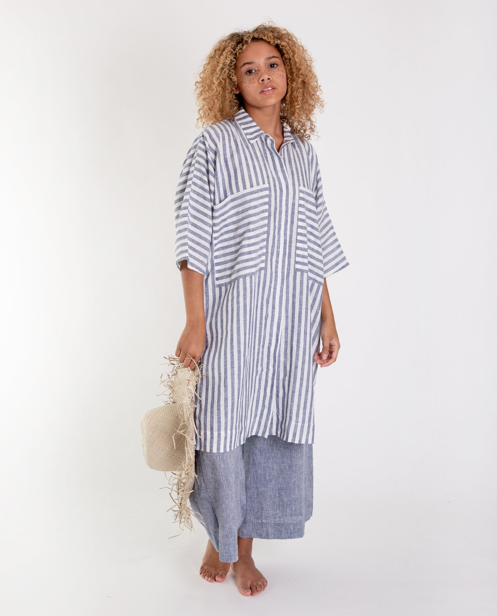 MARSHA-SUE Linen Shirt In Blue Stripe