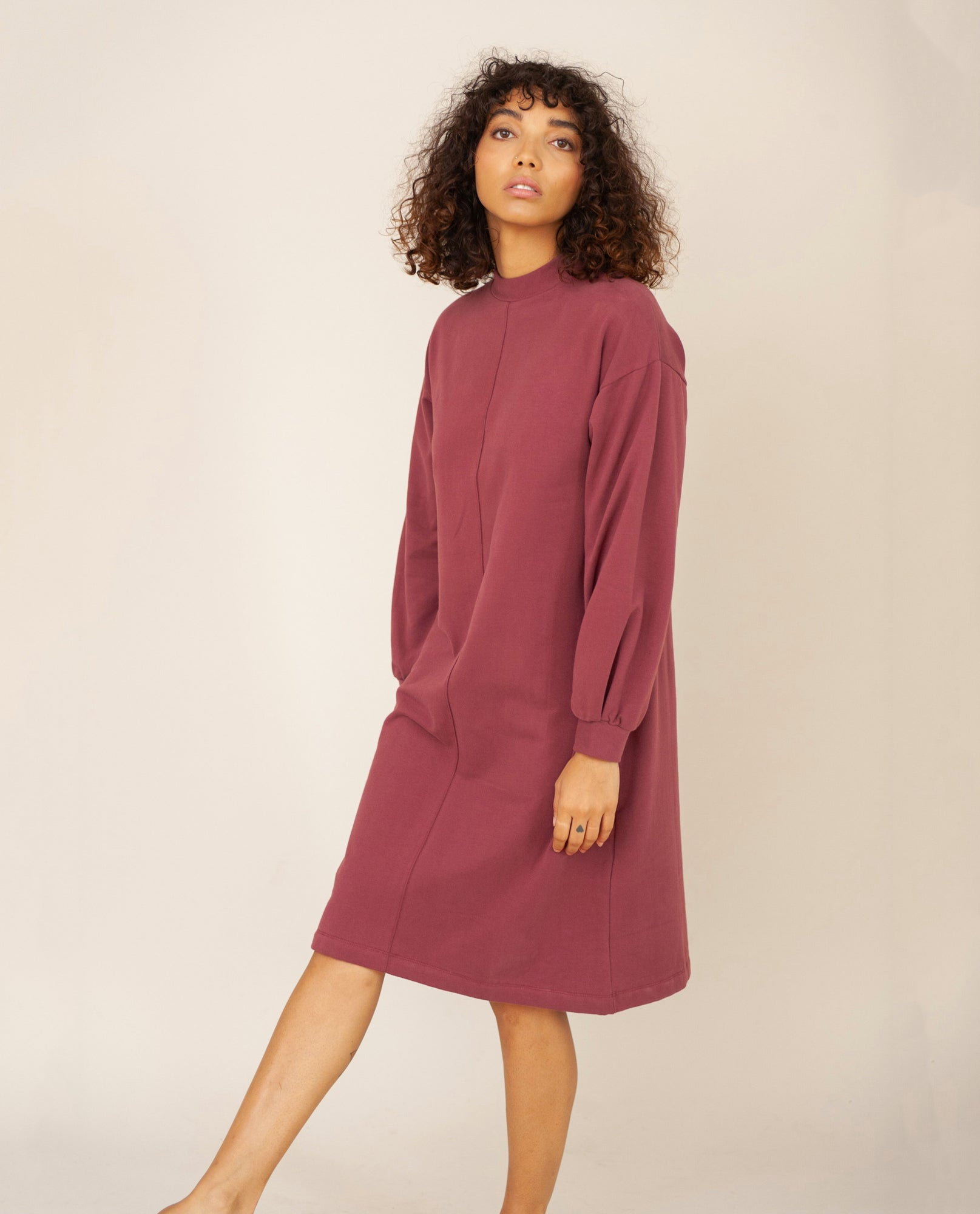 MARTA Organic Cotton Dress In Burgundy