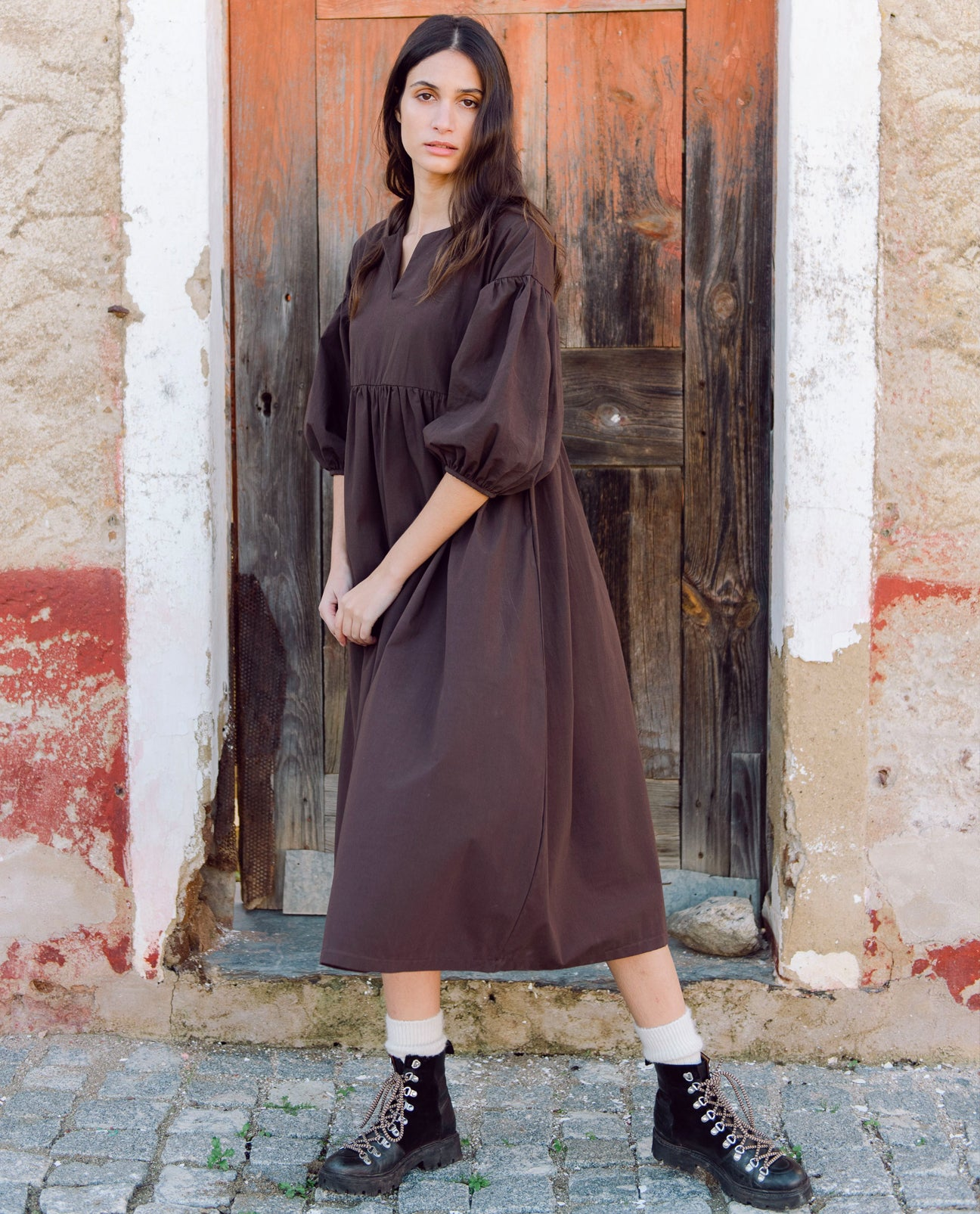 Meilani Organic Cotton Dress In Chocolate