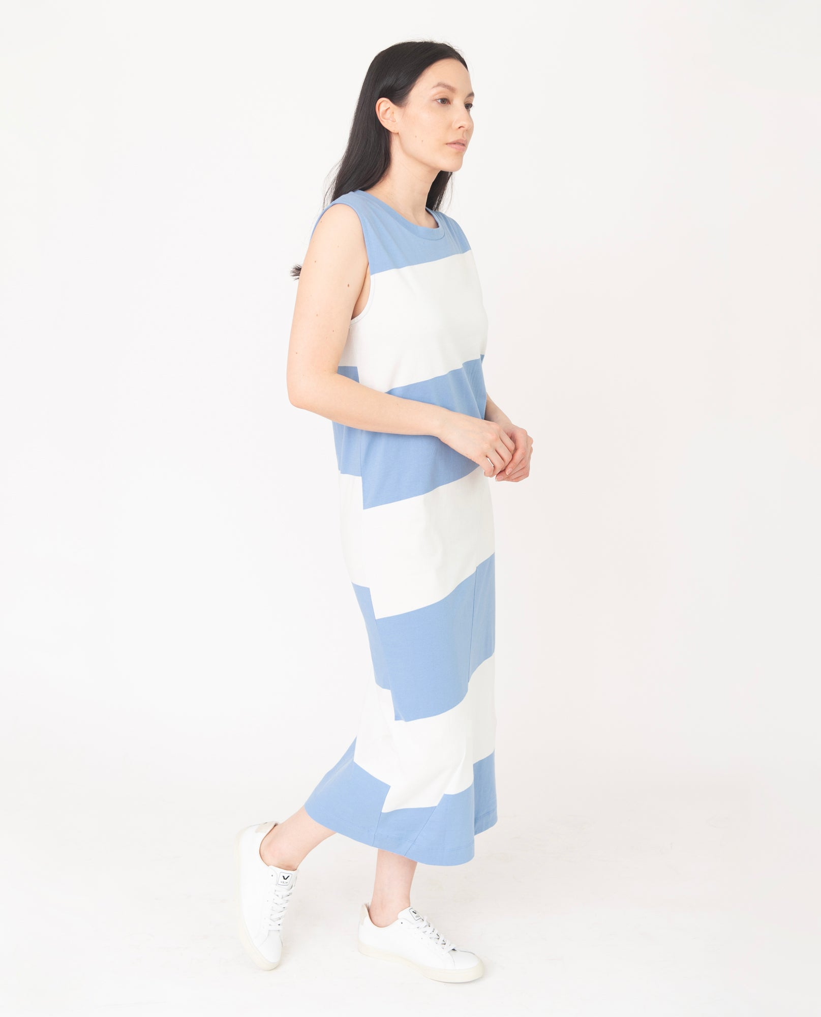 MELISSA Organic Cotton Dress In Cornflower And White