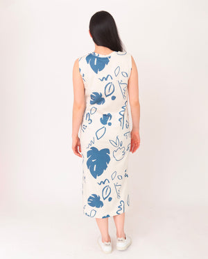 MELISSA-PAIGE Organic Cotton Dress In Ecru And Blue