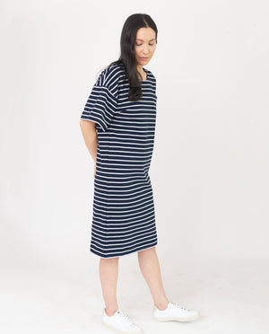 MONICA Organic Cotton Dress In Navy And White