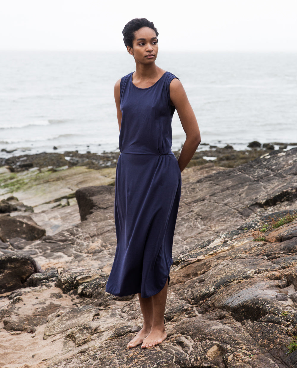Mulberry Organic Cotton Dress In Navy