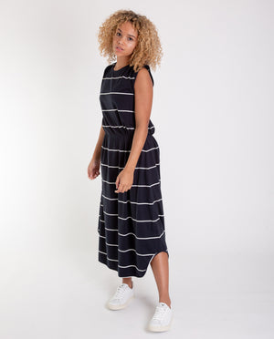 MULBERRY-SUE Organic Cotton Dress In Deep Indigo And Off White