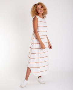 MULBERRY-SUE Organic Cotton Dress In Off White And Madder