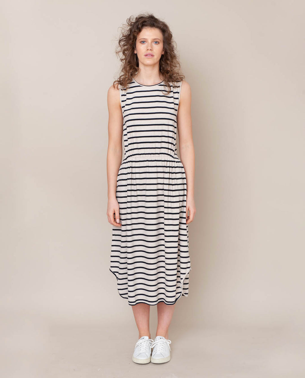 Mulberry-Sue Organic Cotton Dress In Bone Marl & Black
