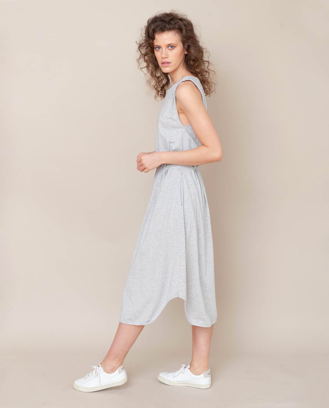 Mulberry Organic Cotton Dress In Light Grey Marl