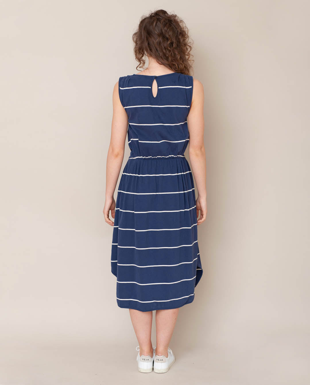 Mulberry-Sue Organic Cotton Dress In Midnight & Natural