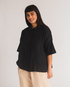 Naomi-May Organic Cotton & Linen Shirt In Black