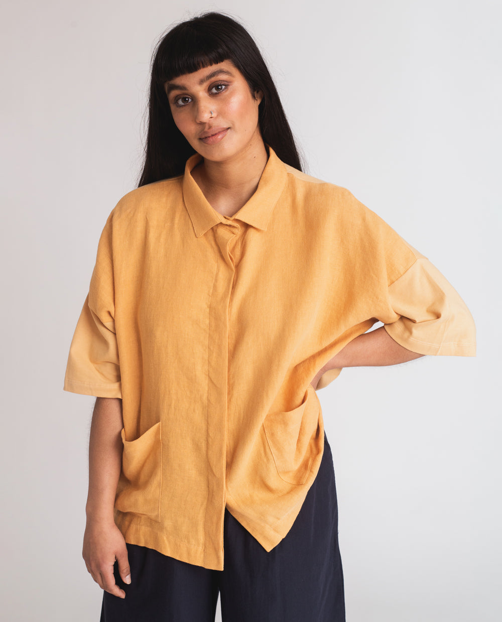 Naomi-May Organic Cotton & Linen Shirt In Gold