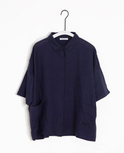 Naomi-May Organic Cotton & Linen Shirt In Midnight