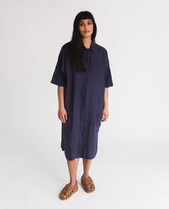 Natasha-May Organic Cotton & Linen Dress In Navy