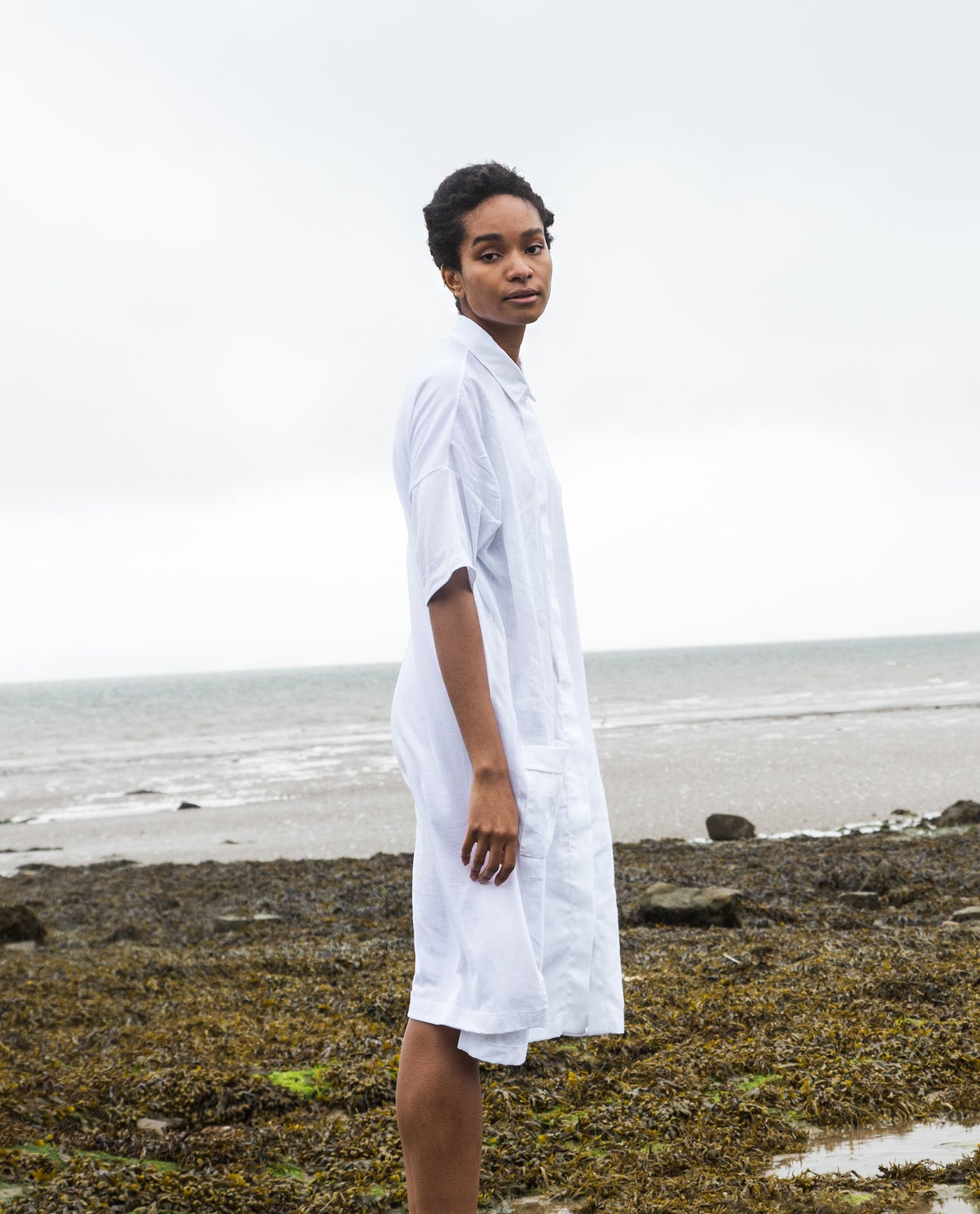 Natasha-May Organic Cotton & Linen Shirt Dress in White.