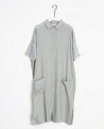 Natasha-May Organic Cotton & Linen Shirt Dress In Dove