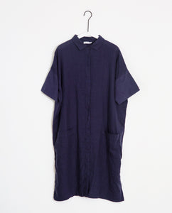 Natasha-May Organic Cotton & Linen Shirt Dress In Midnight
