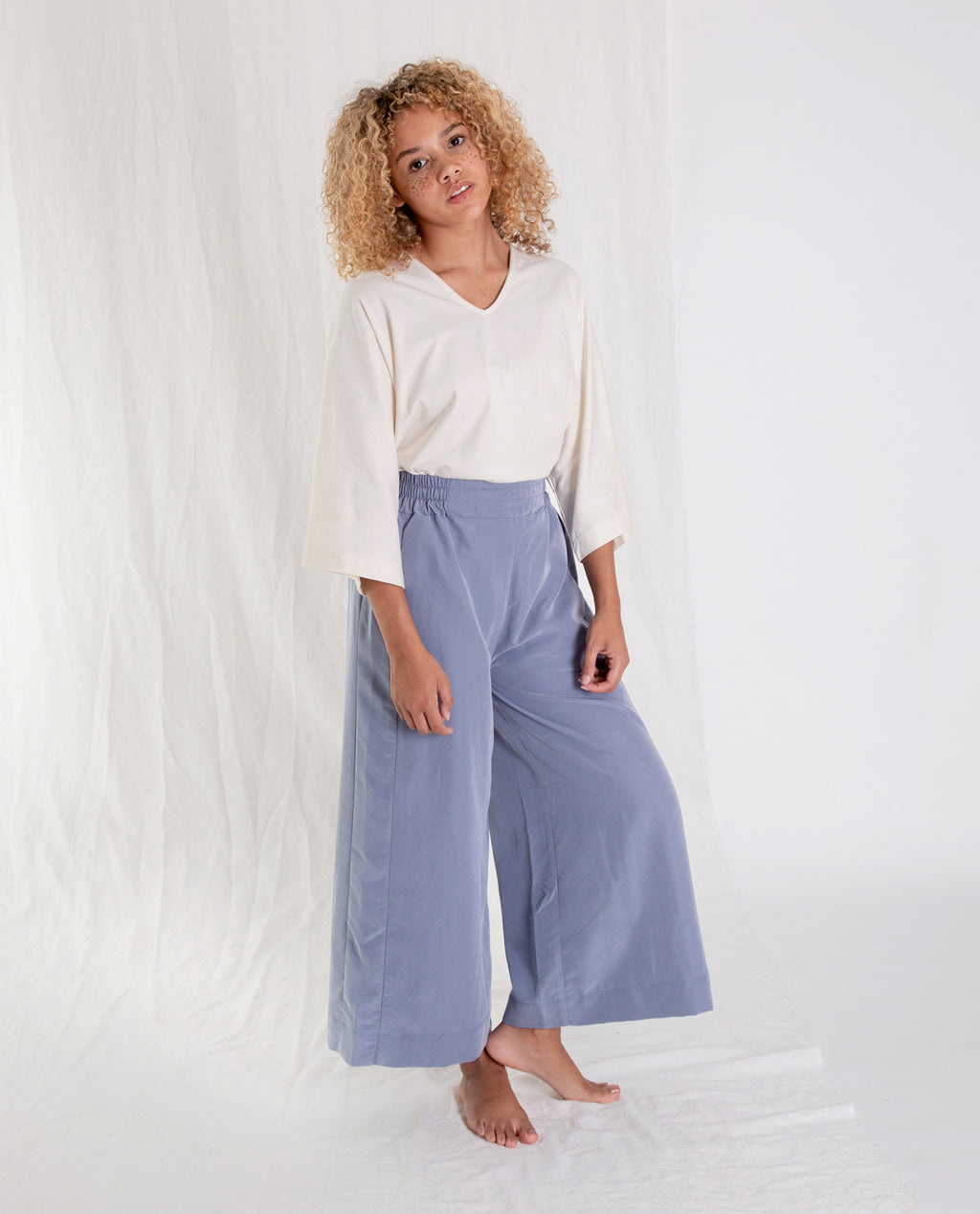 NICOLE-MARIA Modal Trousers In Blue